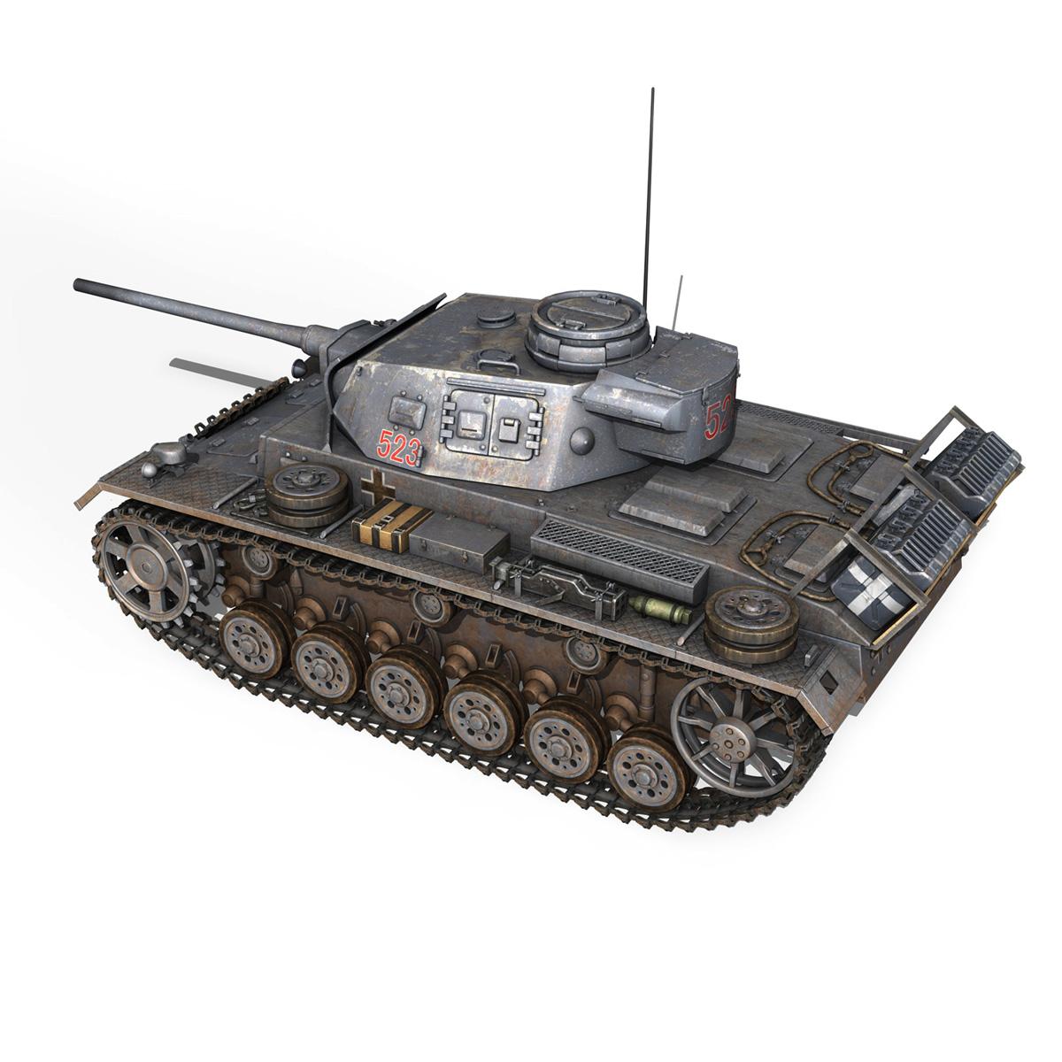 pzkpfw iii – panzer 3 – ausf.j – 523 3d model 3ds fbx c4d lwo obj 189077