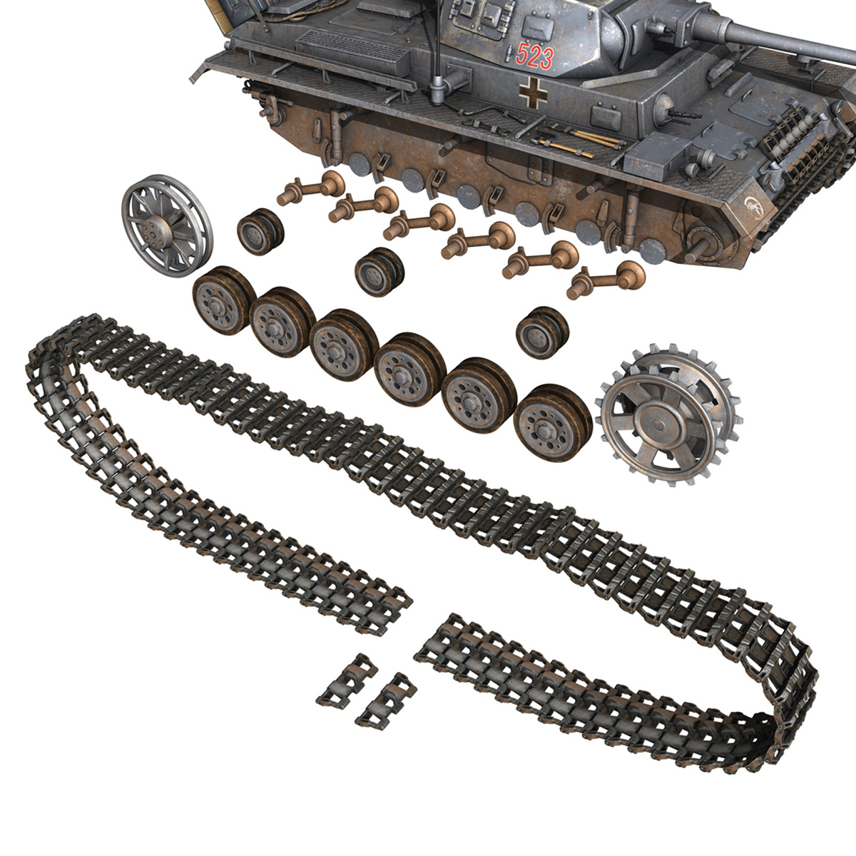 pzkpfw iii – panzer 3 – ausf.j – 523 3d model 3ds fbx c4d lwo obj 189082