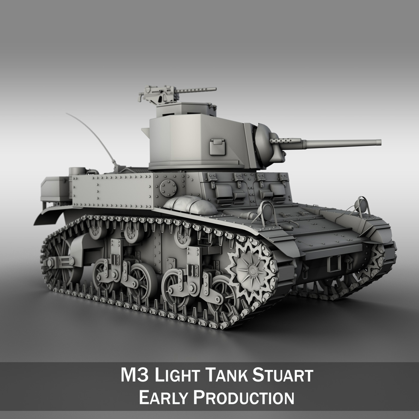 m3 light tank stuart – early production 3d model 3ds fbx c4d lwo obj 189169