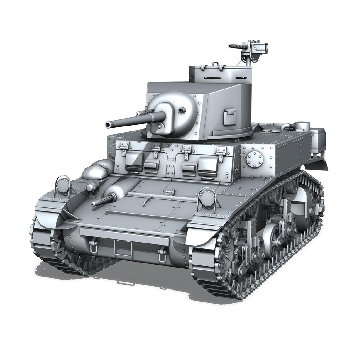 m3 light tank stuart – early production 3d model 3ds fbx c4d lwo obj 189170