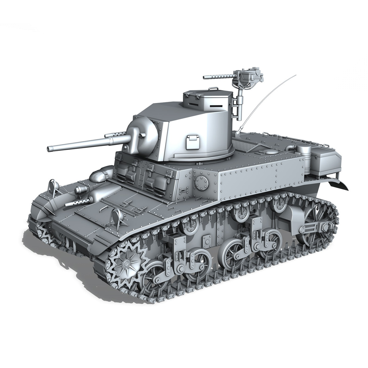 m3 light tank stuart – early production 3d model 3ds fbx c4d lwo obj 189171