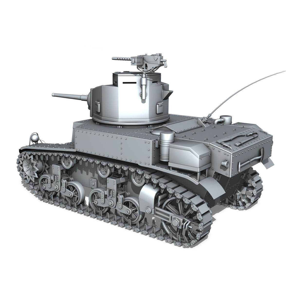 m3 light tank stuart – early production 3d model 3ds fbx c4d lwo obj 189172