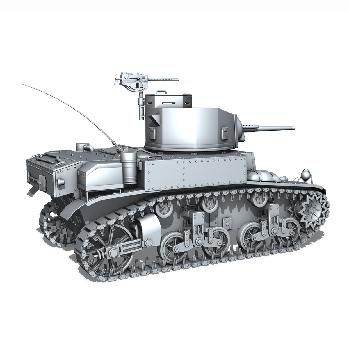 m3 light tank stuart – early production 3d model 3ds fbx c4d lwo obj 189174