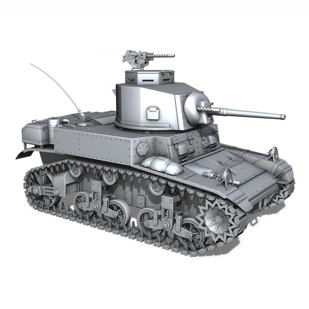 m3 light tank stuart – early production 3d model 3ds fbx c4d lwo obj 189175