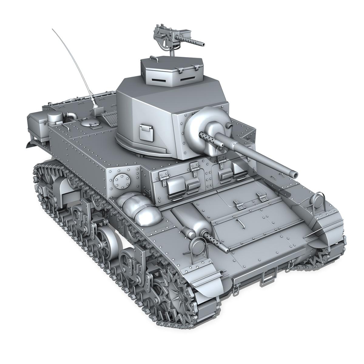 m3 light tank stuart – early production 3d model 3ds fbx c4d lwo obj 189176