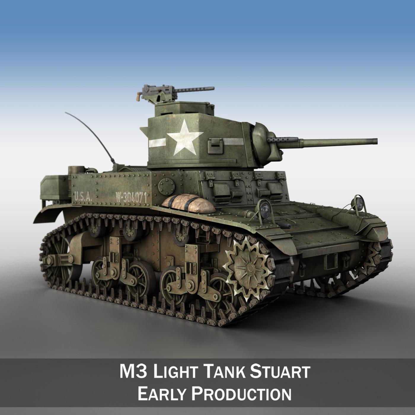 m3 us light tank stuart 3d model 3ds fbx c4d lwo obj 189185