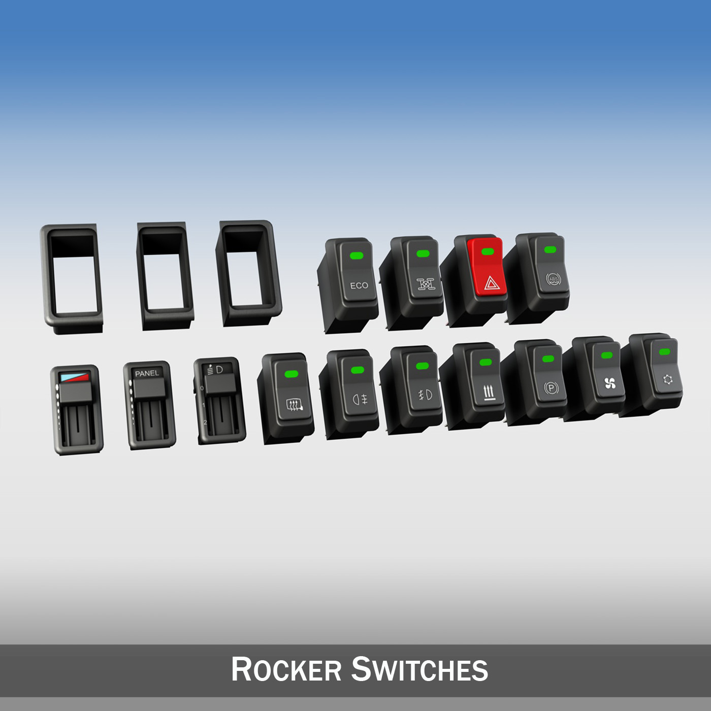 rocker switches for vehicle 3d model 3ds fbx c4d lwo obj 189296