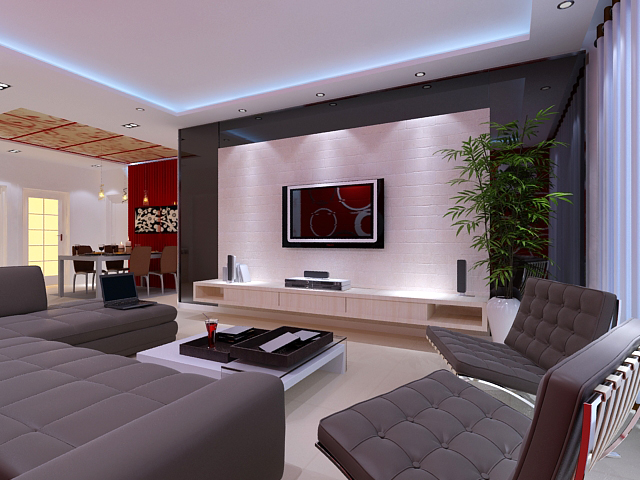 Model Living Room Custom Living Room 93 3D Model Interior Lamp Max Ar Vr Design Decoration