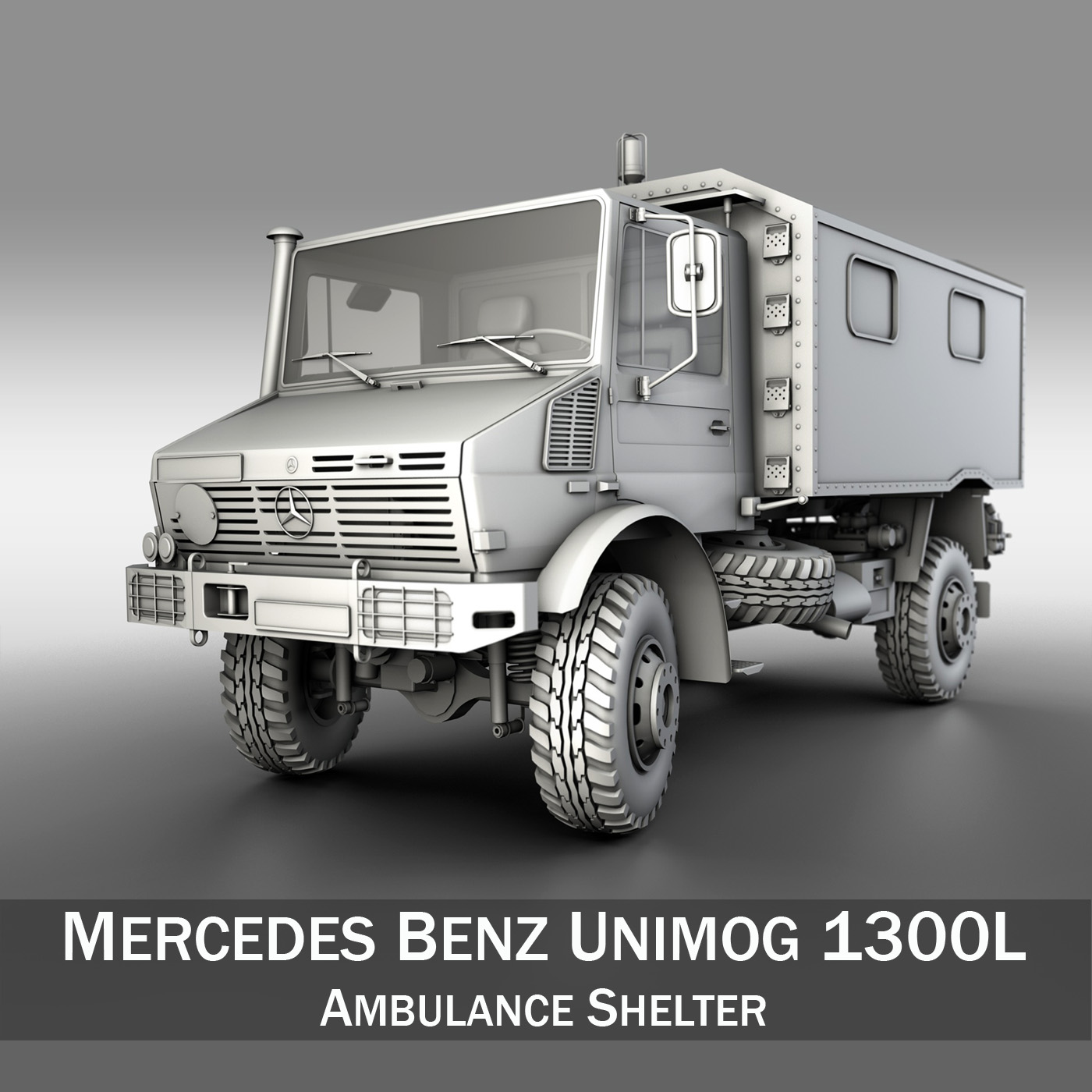 mercedes benz unimog u1300l - ambulance trailer 3d model 3ds fbx c4d lwo obj 189593