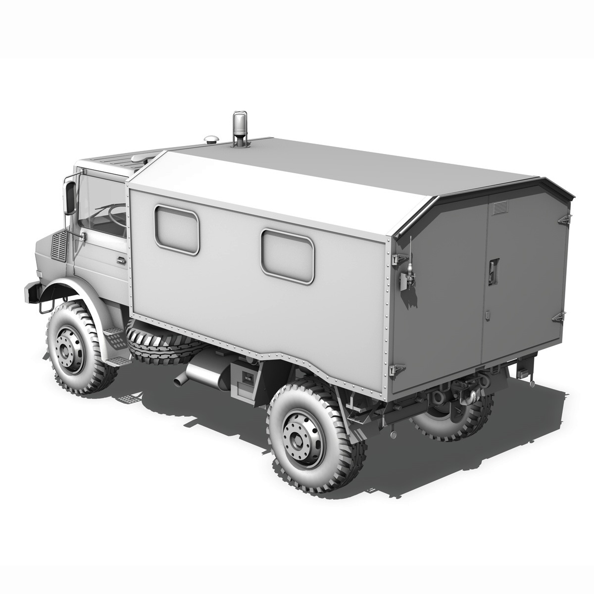 mercedes benz unimog u1300l – ambulance trailer 3d model 3ds fbx c4d lwo obj 189599