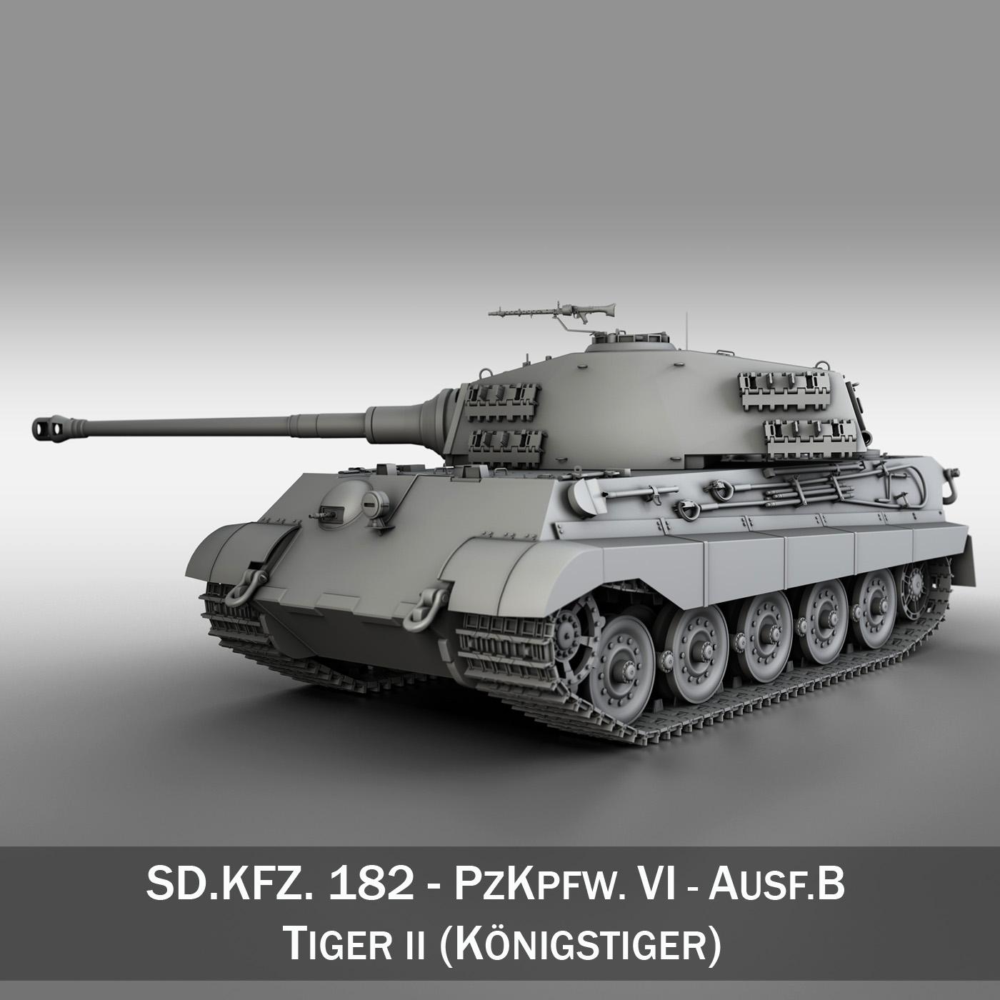 sd.kfz 182 panzer vi – ausf b – tiger ii 3d model 3ds fbx c4d lwo obj 189971