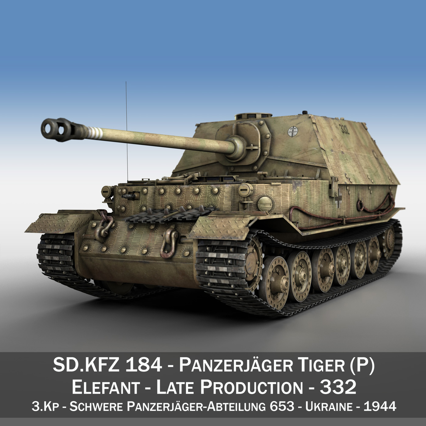 sd.kfz 184 tank destroyer tiger (p) elefant 3d model 3ds fbx c4d lwo obj 190003