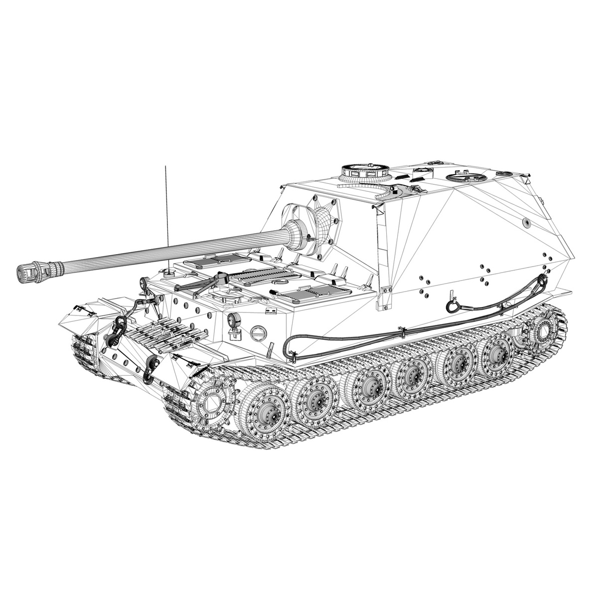 sd.kfz 184 tank destroyer tiger (p) elefant 3d model 3ds fbx c4d lwo obj 190012