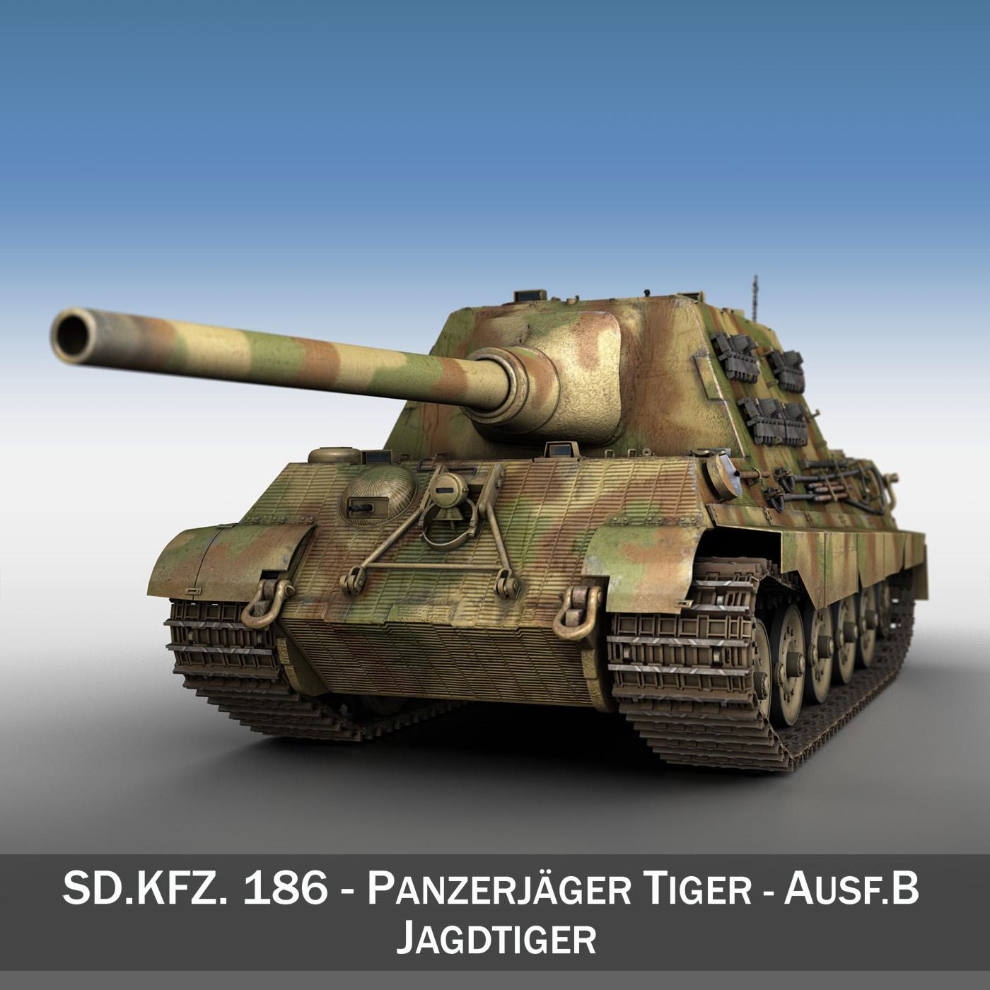 sd.kfz 186 jagdtiger hunting tiger v2 3d model 3ds fbx c4d lwo obj 190017