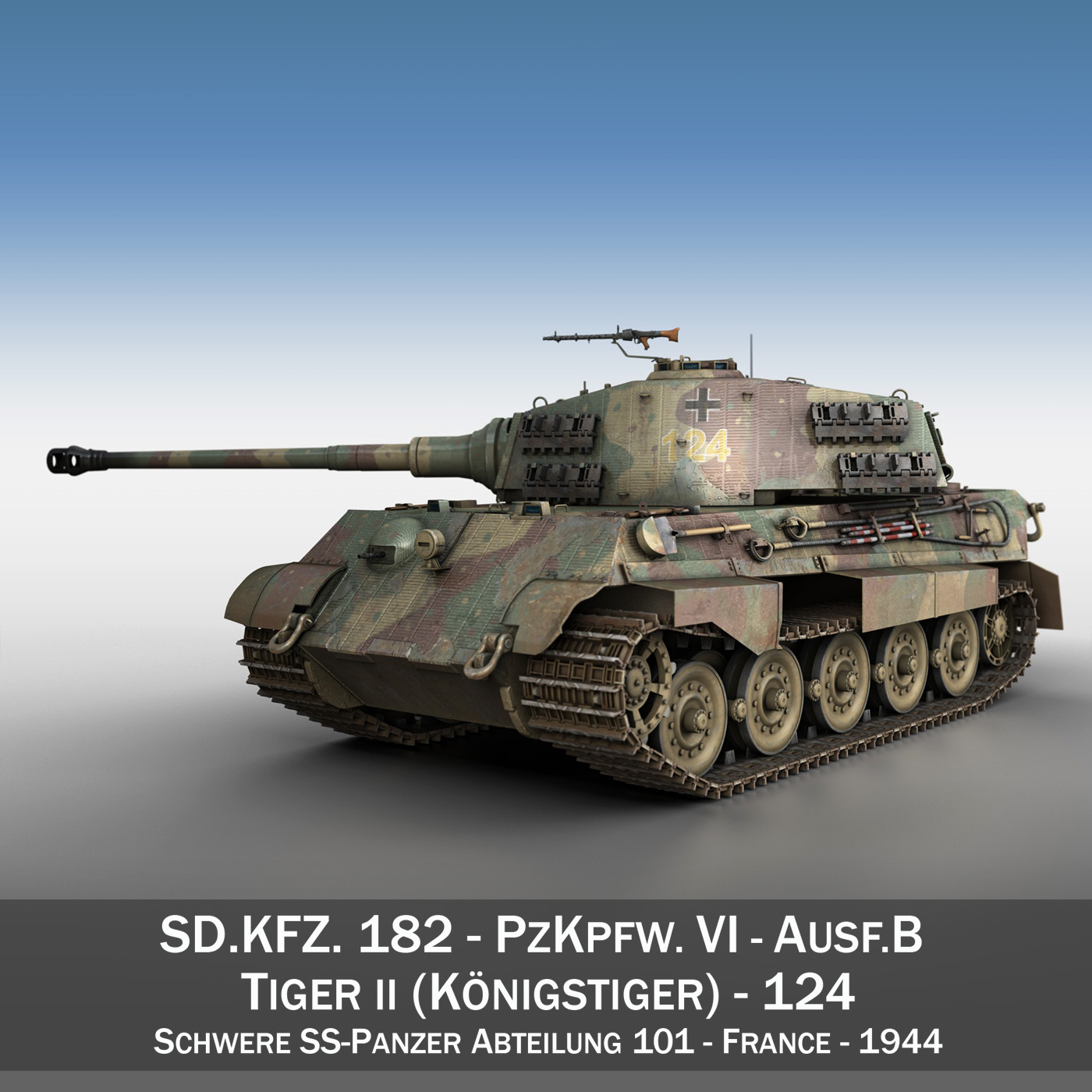 panzerkampfwagen vi - ausf.b - teigr ii - Model 124 3d 3ds c4d lwo obj 190031