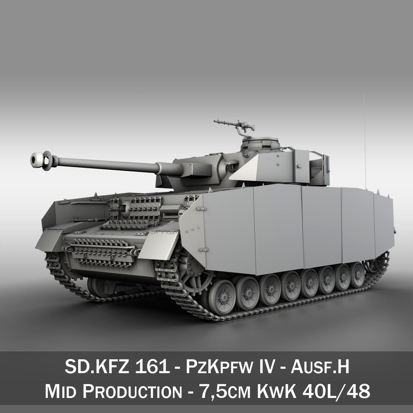 sd.kfz 161 pzkpfw iv – panzer 4 – ausf.h late 3d model 3ds fbx c4d lwo obj 190316