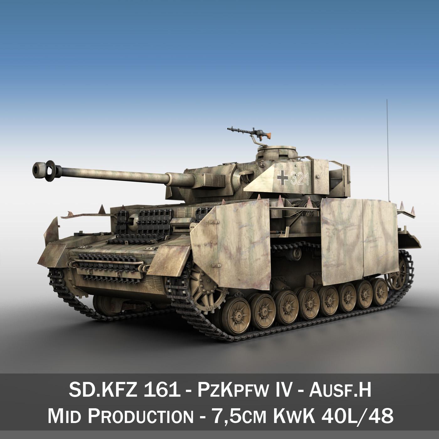 sd.kfz 161 pzkpfw iv panzer 4 ausf.h late 3d model 3ds fbx c4d lwo obj 190339