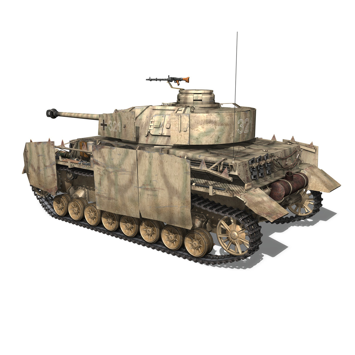 sd.kfz 161 pzkpfw iv panzer 4 ausf.h late 3d model 3ds fbx c4d lwo obj 190342