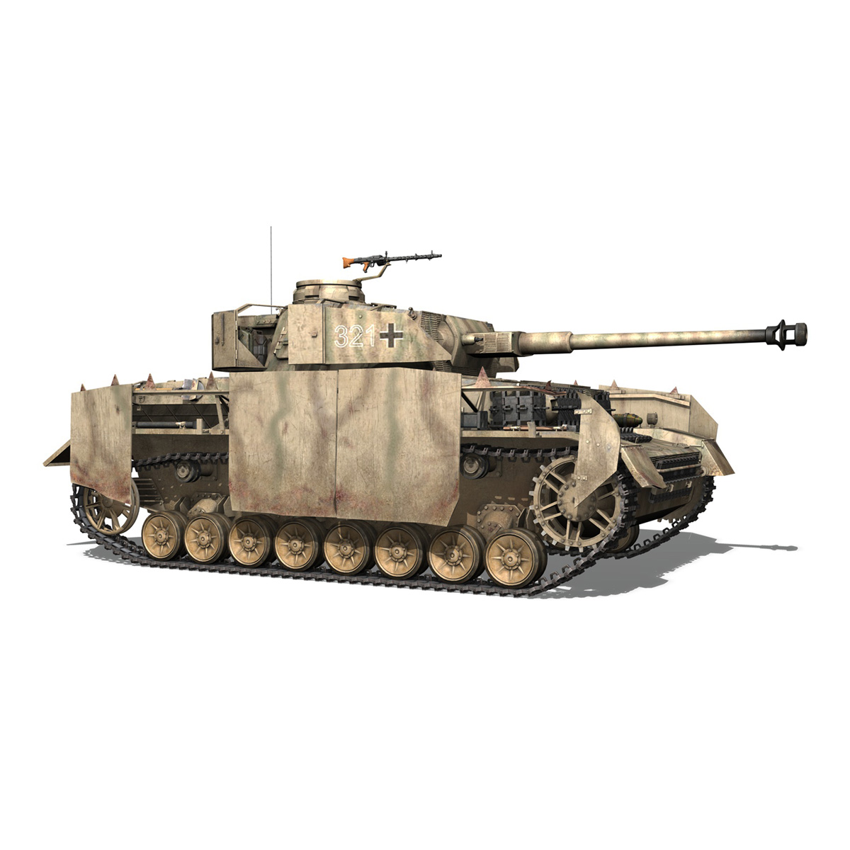 sd.kfz 161 pzkpfw iv panzer 4 ausf.h late 3d model 3ds fbx c4d lwo obj 190344