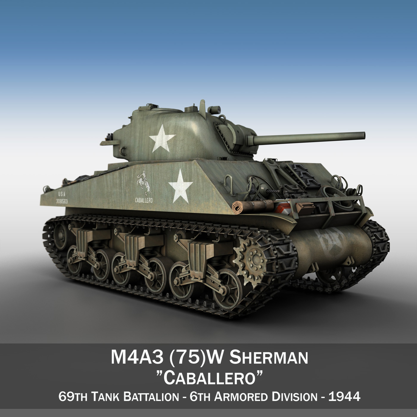 m4a3 75mm – sherman – caballero 3d model 3ds fbx c4d lwo obj 190479