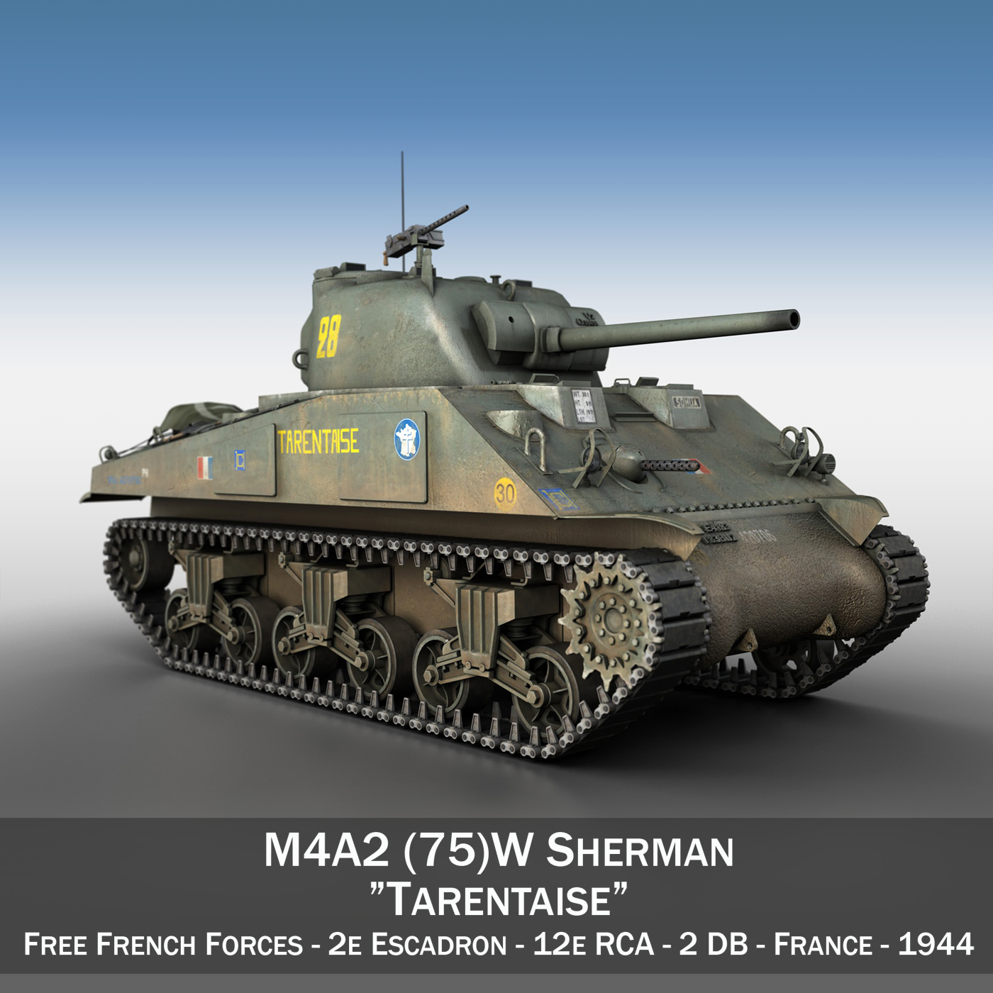 m4a2 sherman – tarentaise 3d model 3ds fbx c4d lwo obj 190490