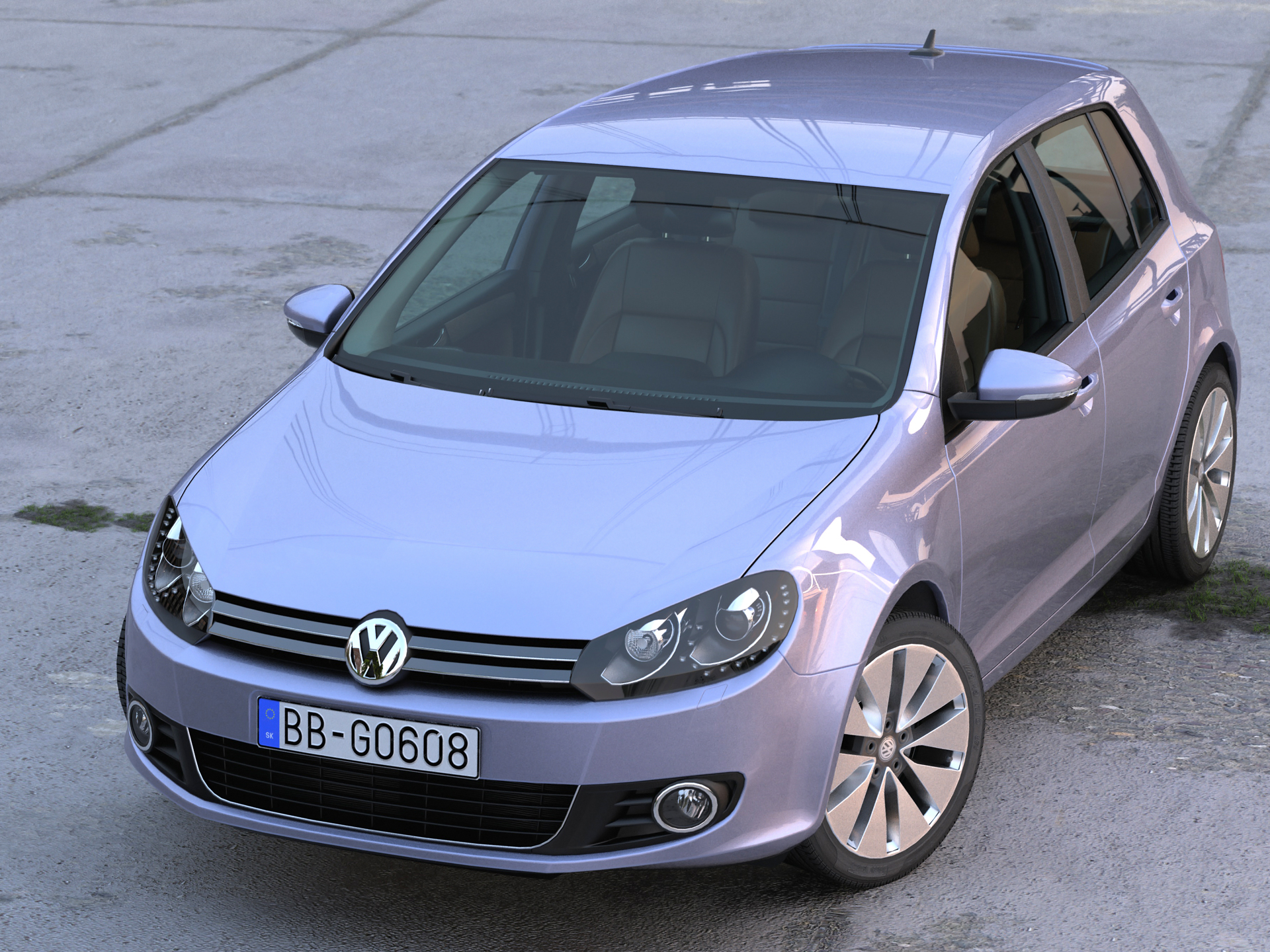 volkswagen golf 5d (2010) 3d model 3ds max fbx c4d obj 191596