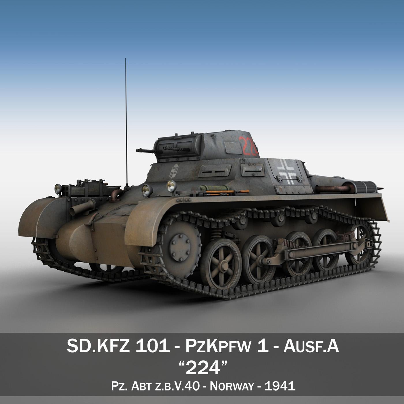pzkpfw 1 - panzer 1 - ausf. a - Model 224 3d 3ds fbx c4d lwo obj 195072