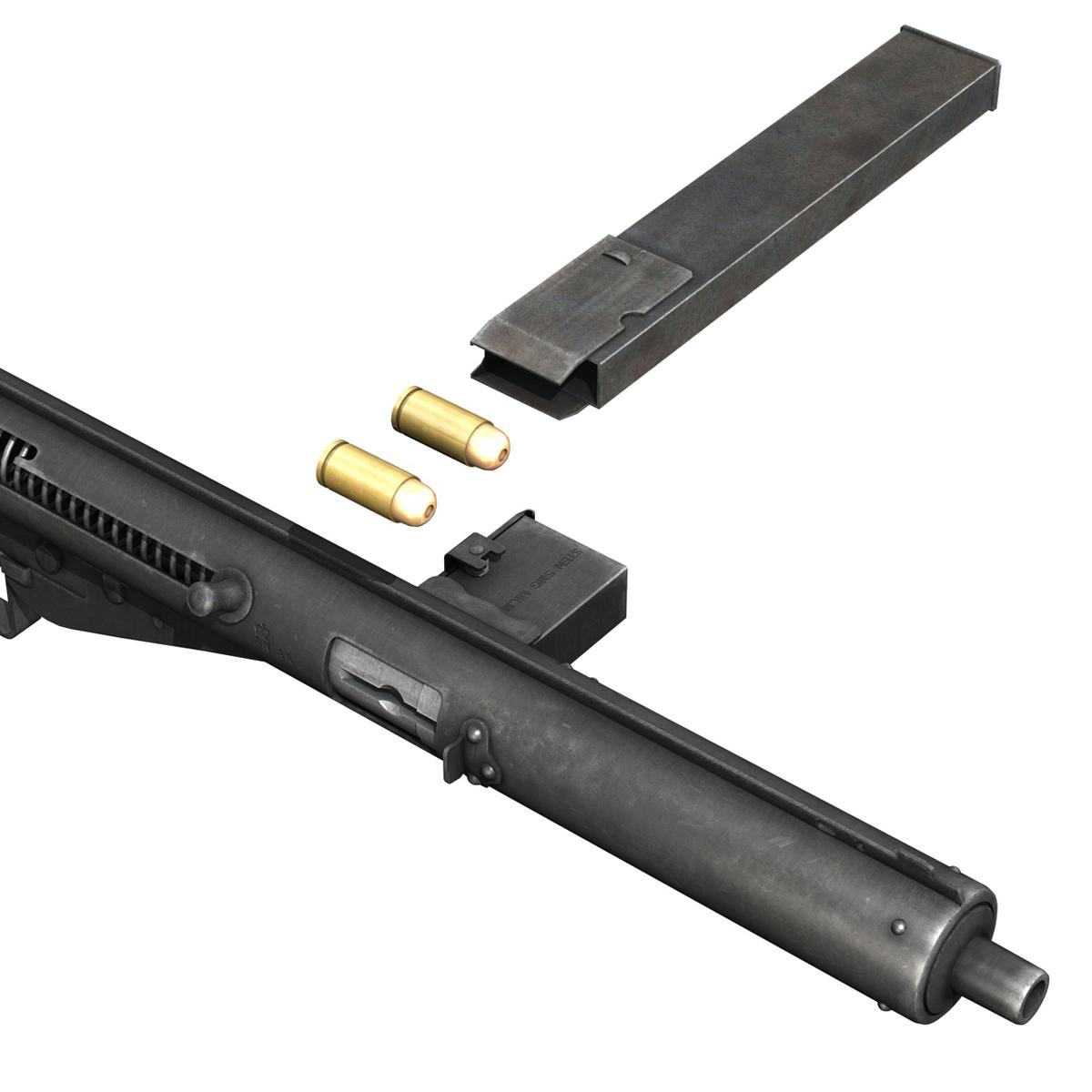 sten mk.iii submachine gun 3d model 3ds fbx c4d lwo obj 195117