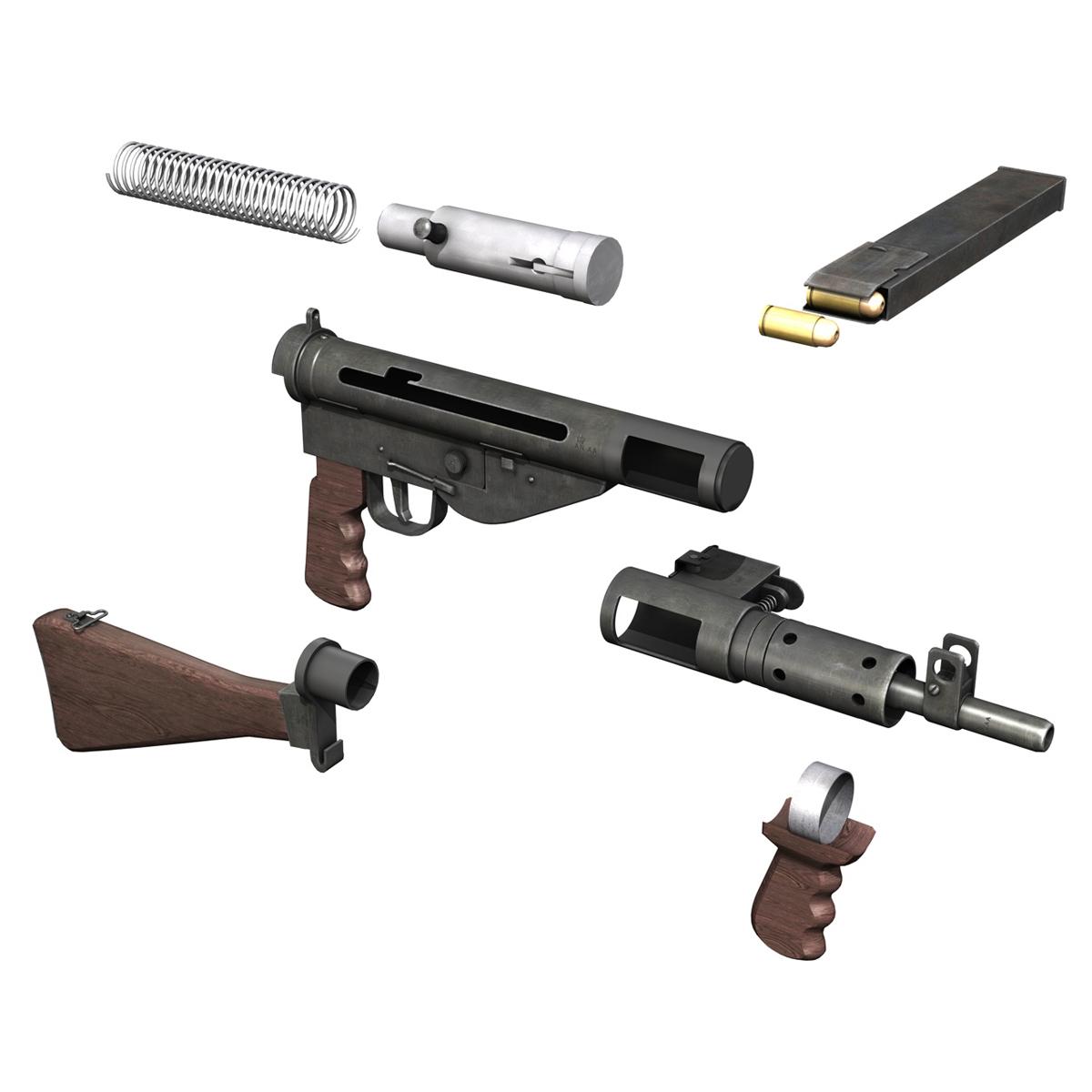 sten mk.v submachine gun 3d model 3ds fbx c4d lwo obj 195130