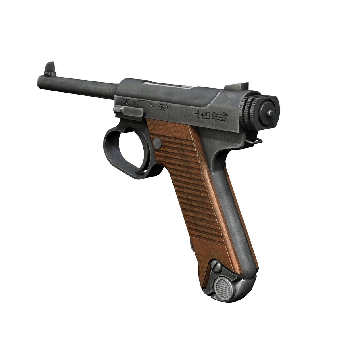Nambu pištolj tip 14 3d model 3ds fbx c4d lwo obj 195156