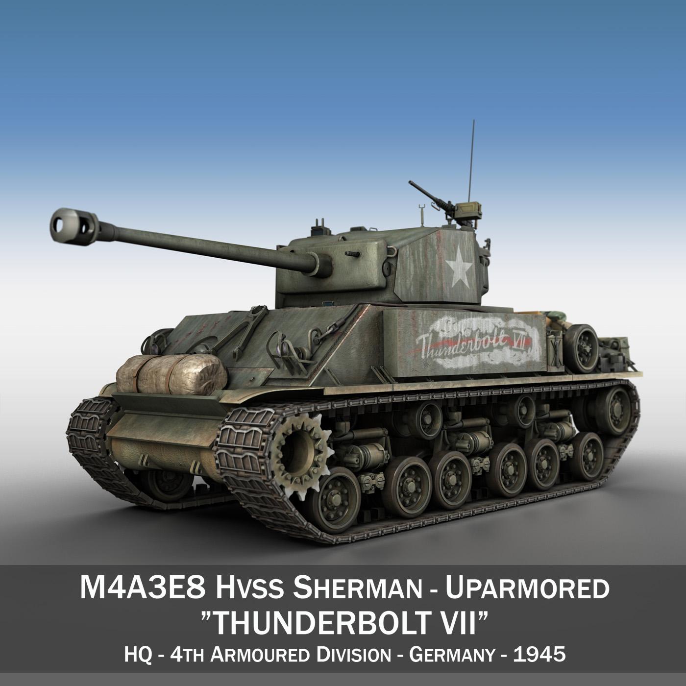 m4a3e8 hvss sherman – thunderbolt vii 3d model 3ds fbx c4d lwo obj 196834