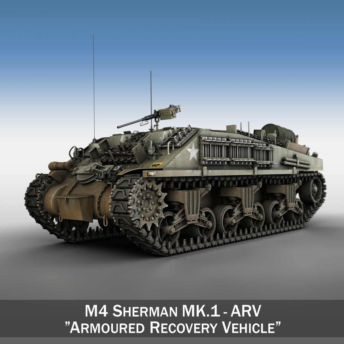m4 sherman arv mk.i 3d modell 3ds fbx c4d lwo obj 196850