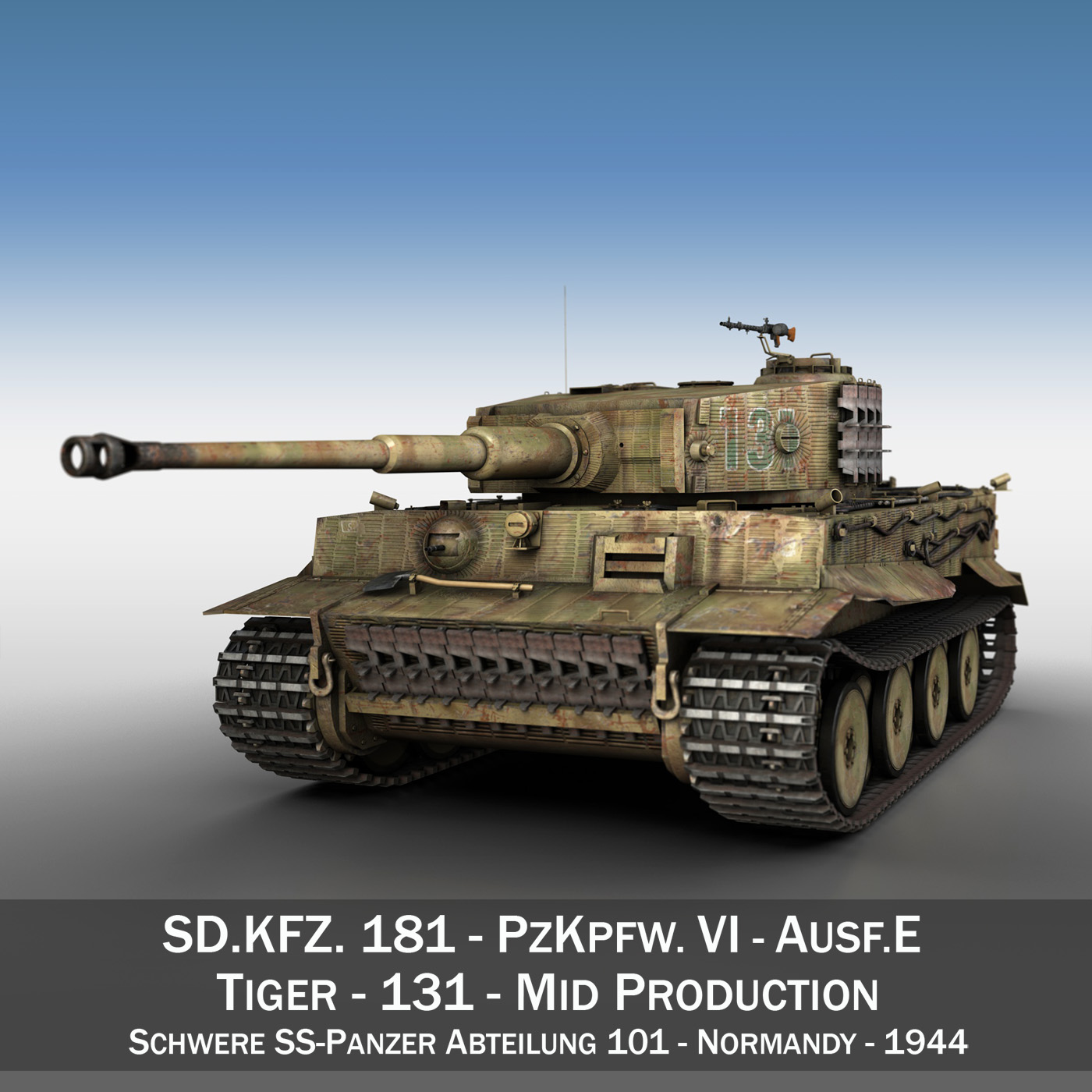 panzer vi – tiger – 131 – mid production 3d model 3ds c4d lwo obj 196883