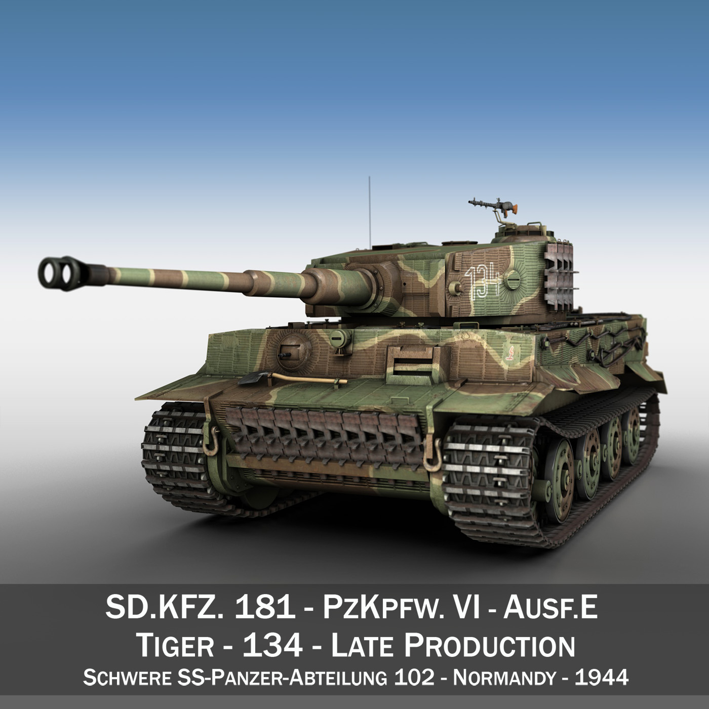 panzer vi – tiger – 134 – late production 3d model 3ds fbx c4d lwo obj 196913