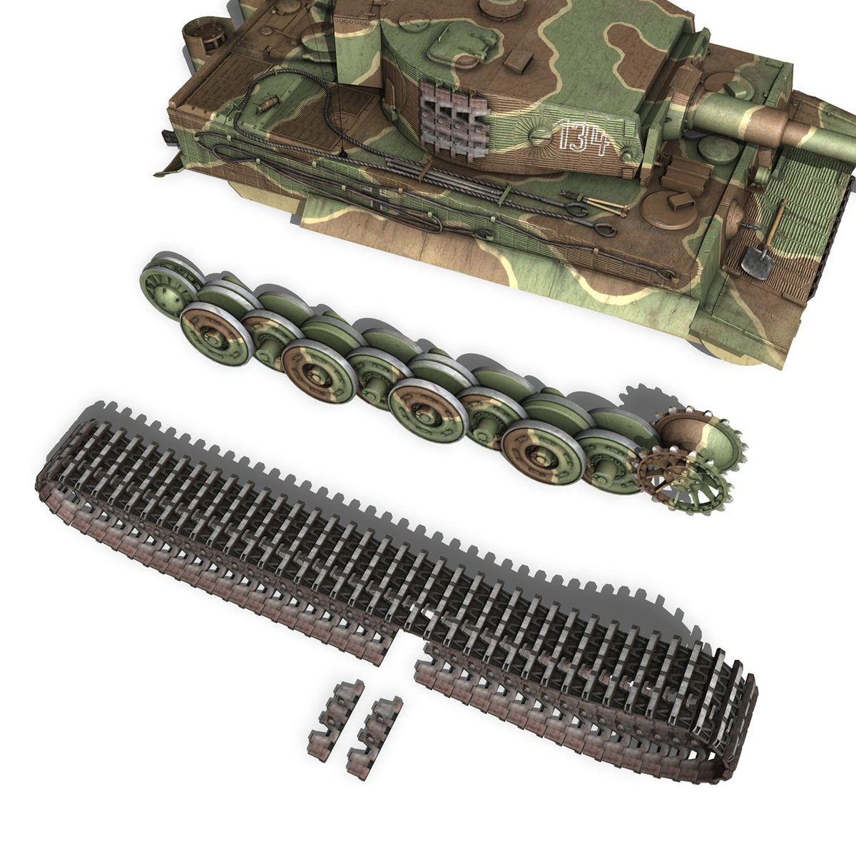 panzer vi – tiger – 134 – late production 3d model 3ds fbx c4d lwo obj 196921