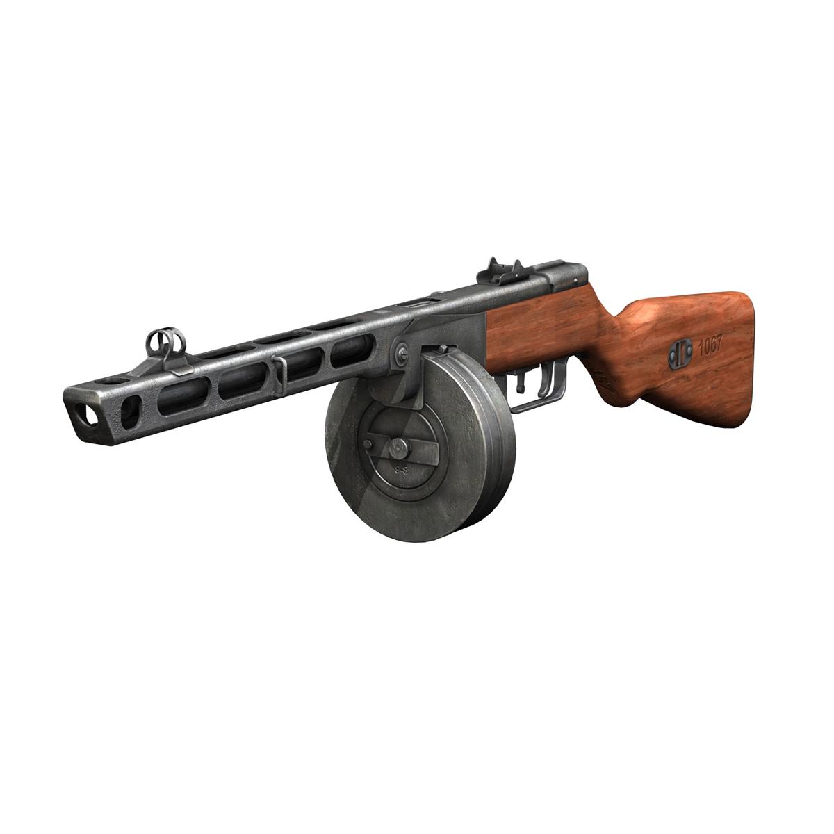 ppsh-41 – soviet submachine gun 3d model 3ds fbx c4d lwo obj 196951