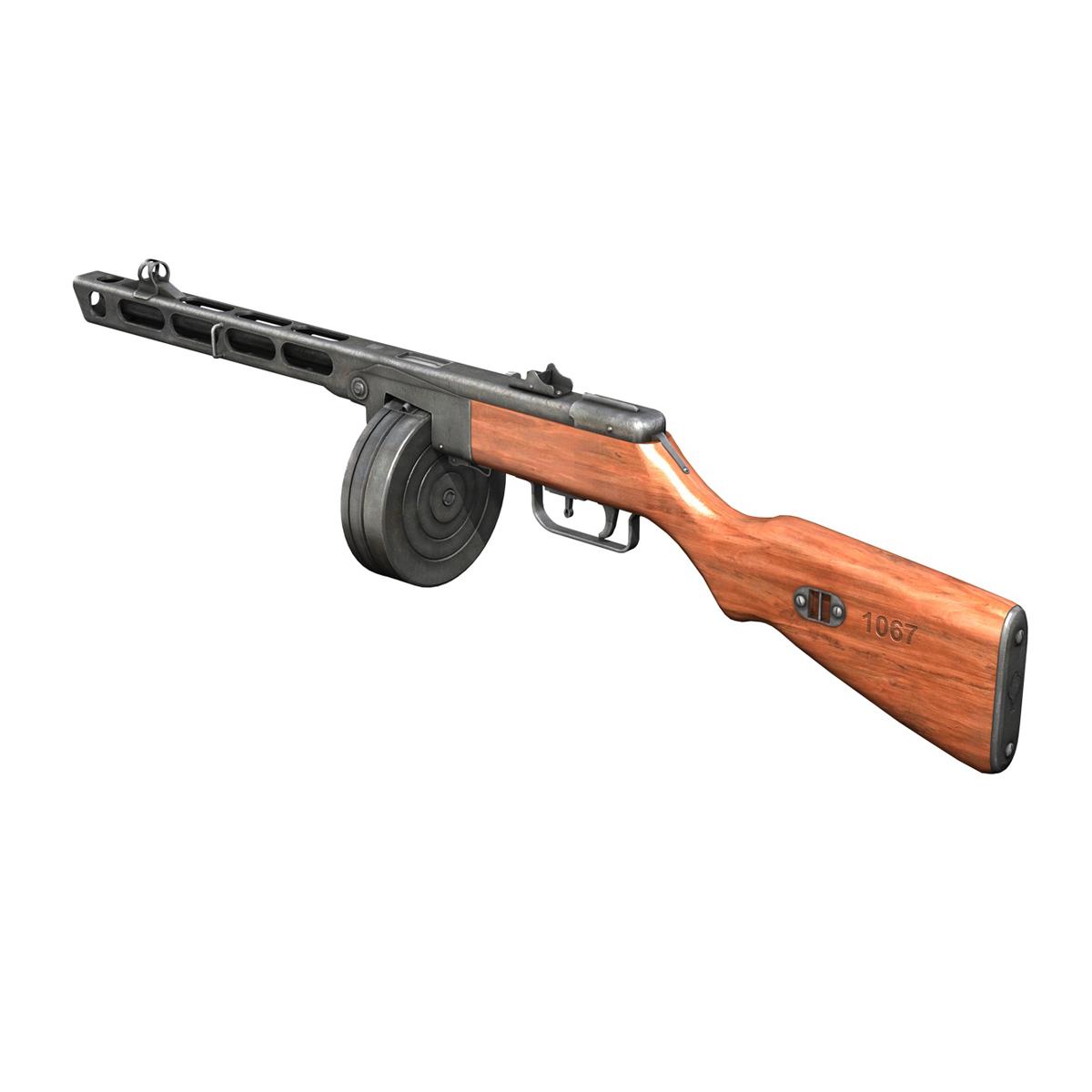 ppsh-41 – soviet submachine gun 3d model 3ds fbx c4d lwo obj 196954