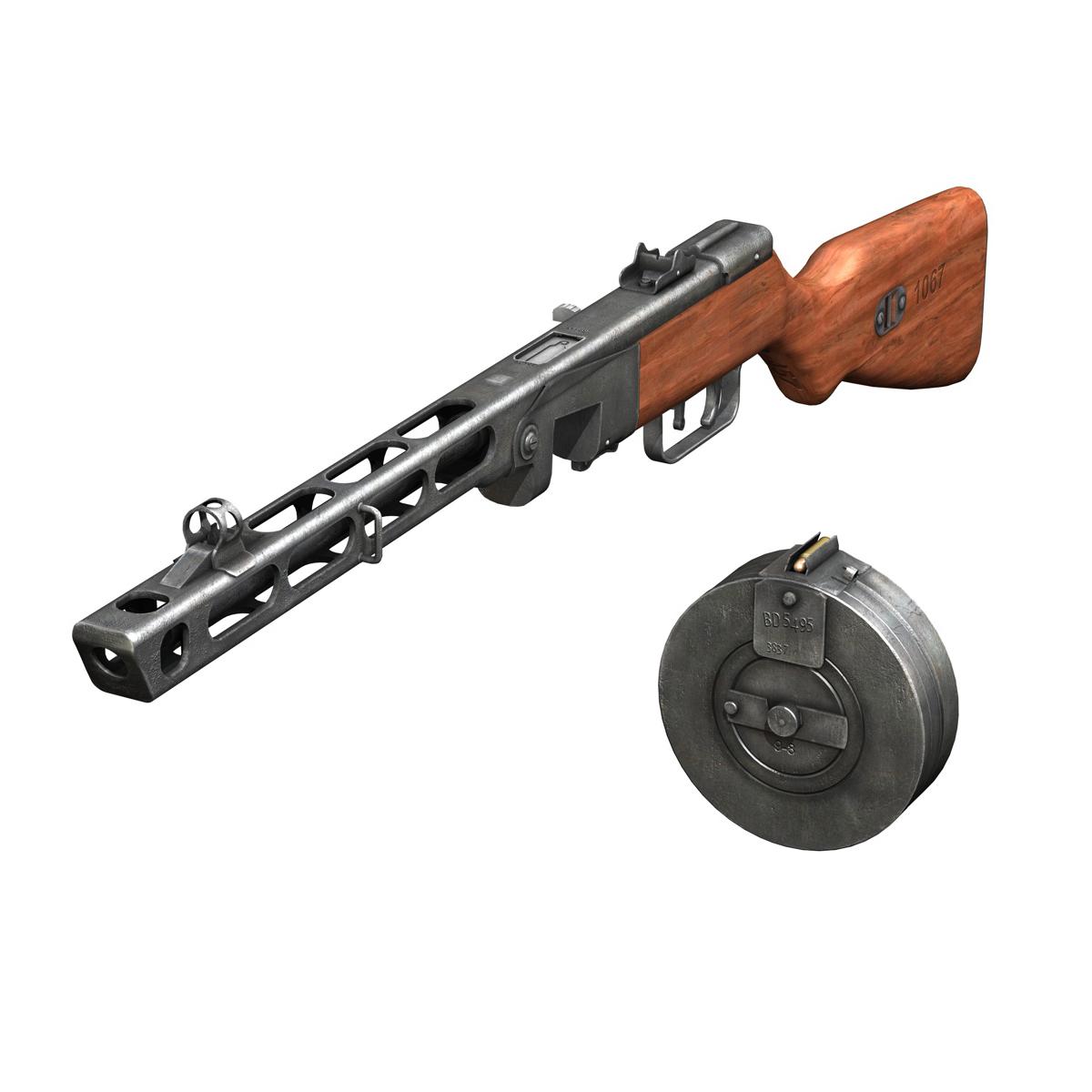ppsh-41 – soviet submachine gun 3d model 3ds fbx c4d lwo obj 196958