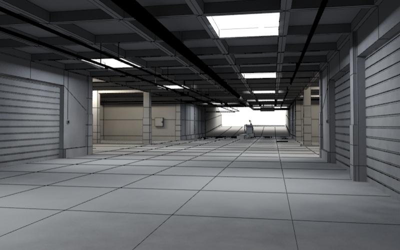 Underground Parking Garage 01 3d Model