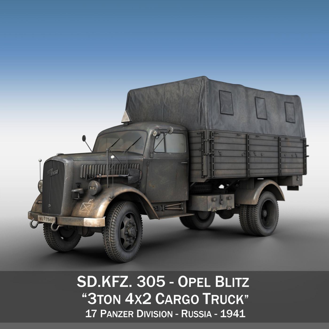 Опел Блиц - 3t карго камион - 17 pzdiv 3d модел 3ds fbx c4d lwo obj 197196