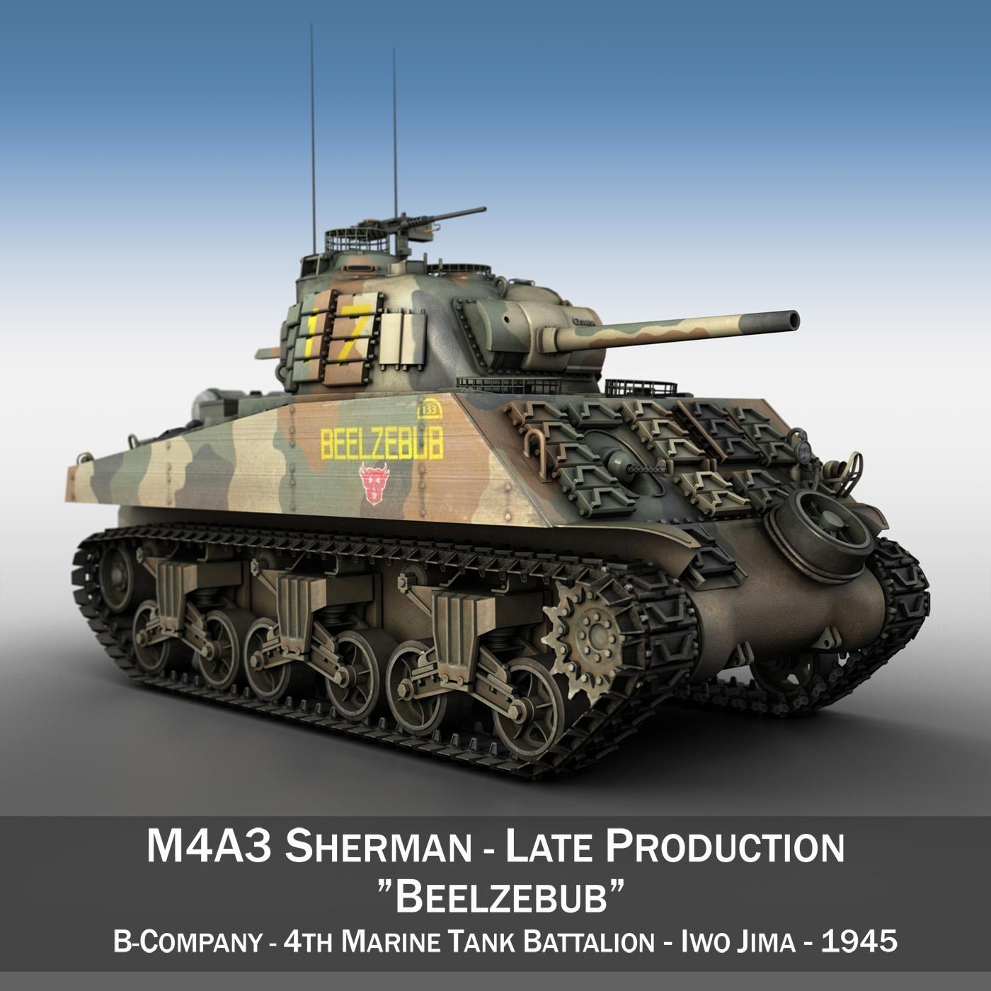 m4a3 sherman - beelzebub 3d загвар 3ds fbx c4d lwo obj 197310