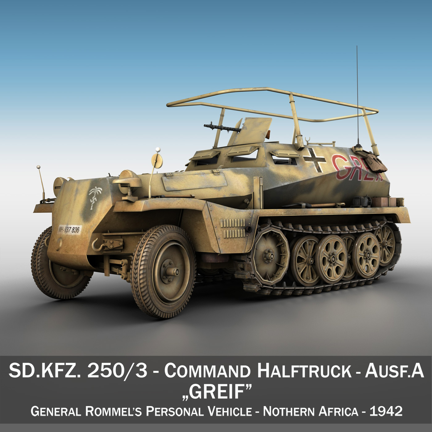 sd.kfz 250 / 3 - amrywiad hanner-trac hanner modiwl 3d 3ds fbx c4d lwo obj 197588