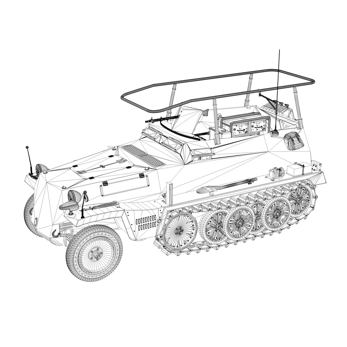 sd.kfz 250/3 – greif – half-track command variant 3d model 3ds fbx c4d lwo obj 197597