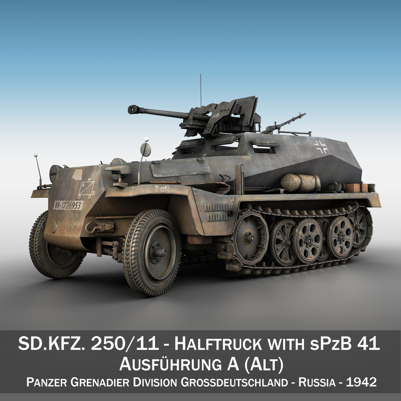 sd.kfz 250/11 – halftruck with spzb 41 – pzgrendiv 3d model 3ds fbx c4d lwo obj 197648