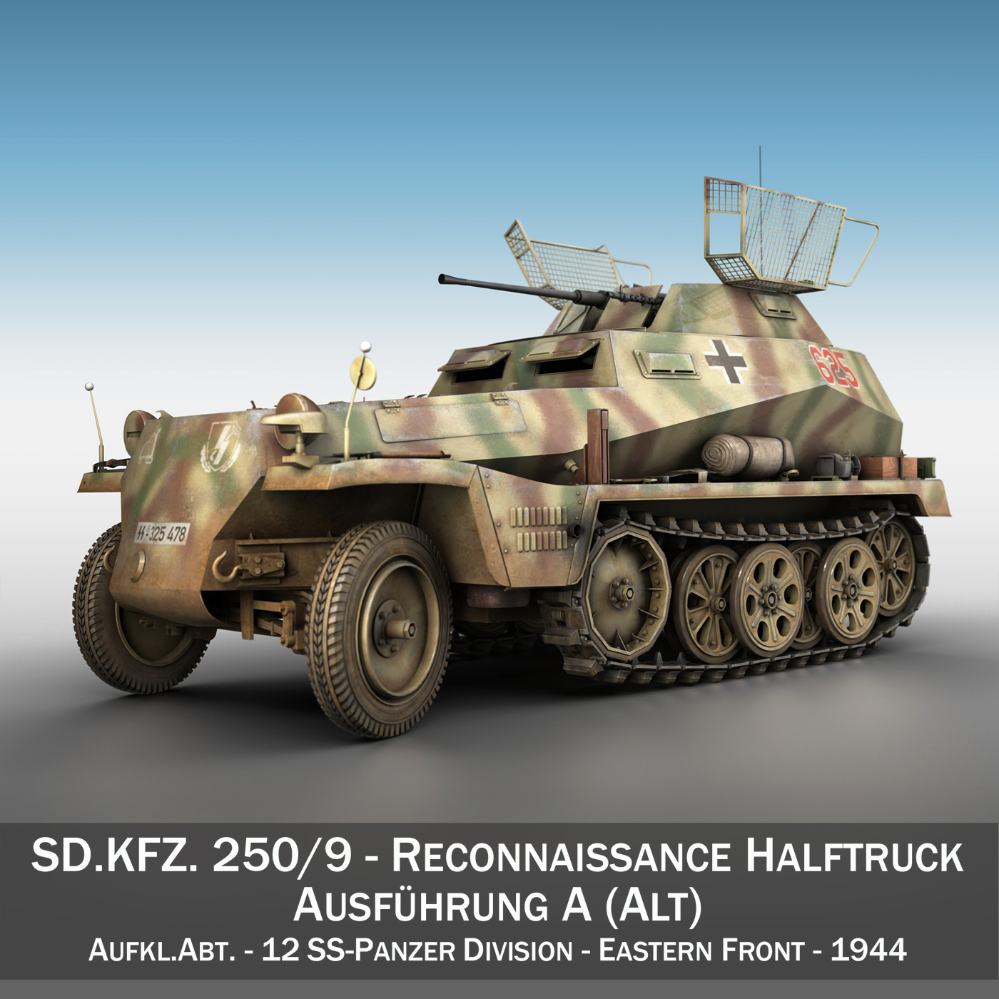 sd.kfz 250 9 – half-track armored vehicle 3d model 3ds fbx c4d lwo obj 198213