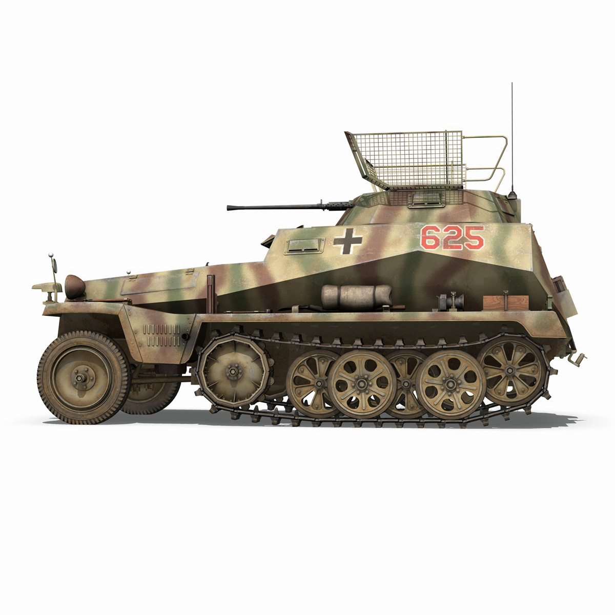 sd.kfz 250 9 – half-track armored vehicle 3d model 3ds fbx c4d lwo obj 198214