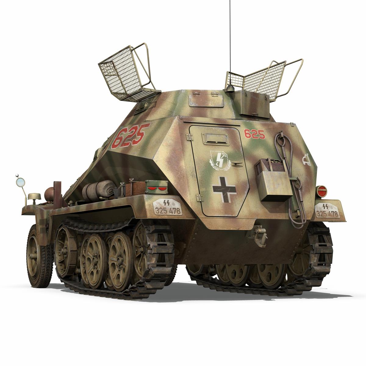 sd.kfz 250 9 – half-track armored vehicle 3d model 3ds fbx c4d lwo obj 198216