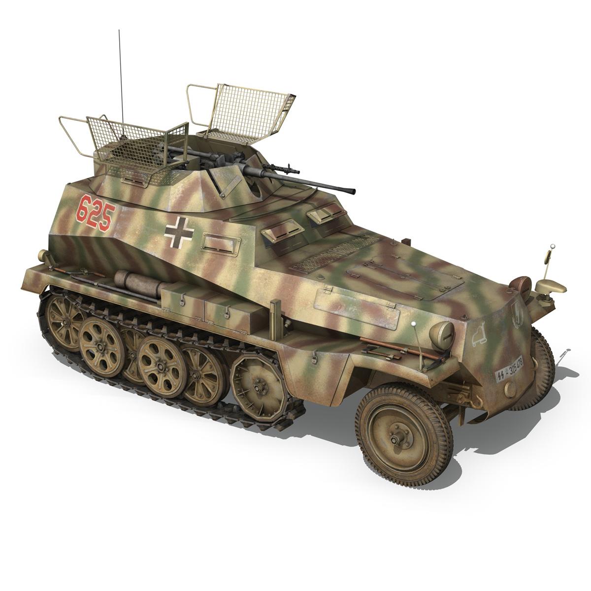 sd.kfz 250 9 – half-track armored vehicle 3d model 3ds fbx c4d lwo obj 198217