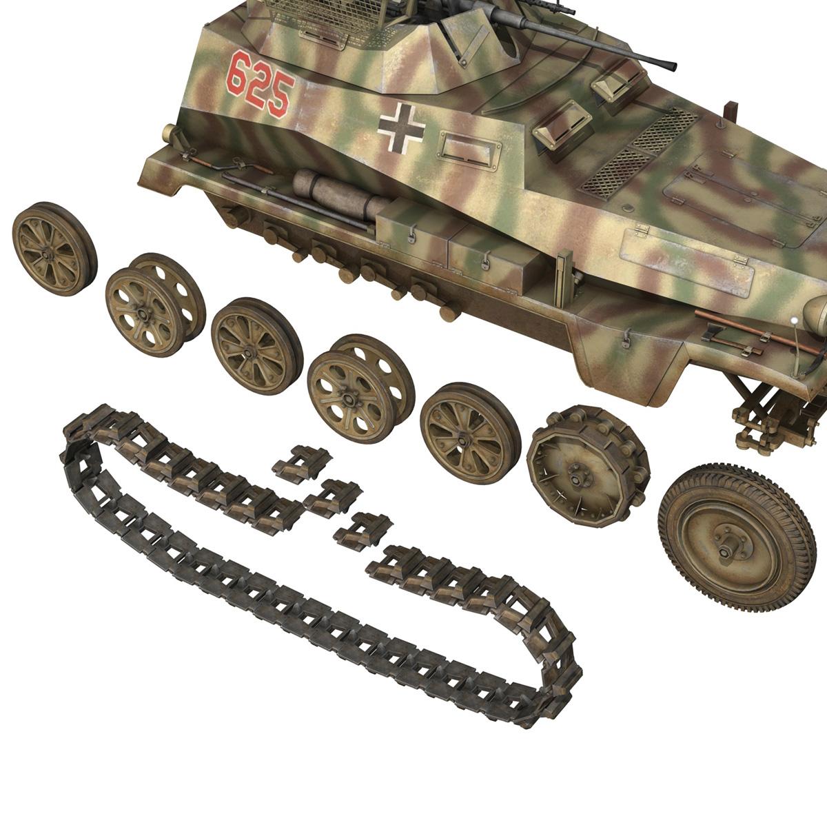 sd.kfz 250 9 – half-track armored vehicle 3d model 3ds fbx c4d lwo obj 198221