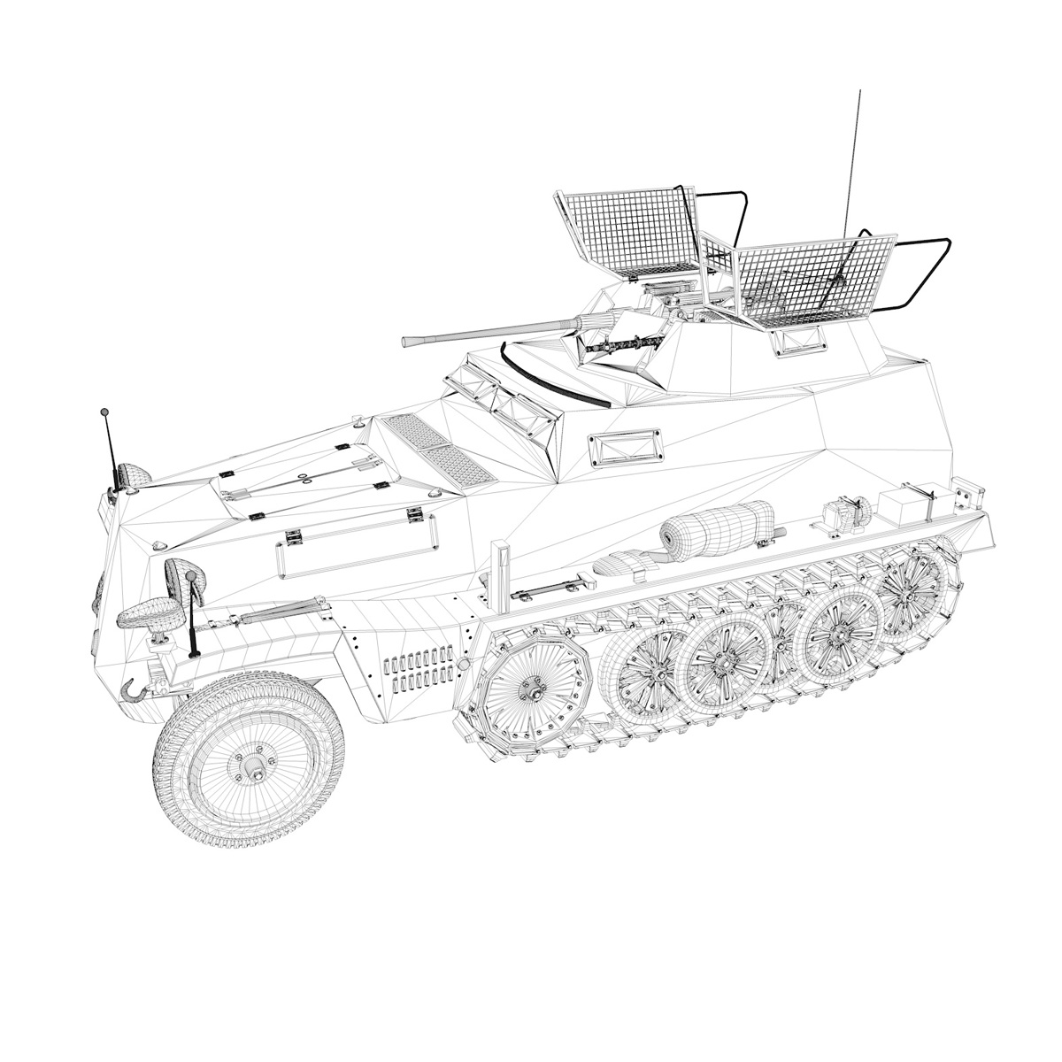 sd.kfz 250 9 – half-track armored vehicle 3d model 3ds fbx c4d lwo obj 198222